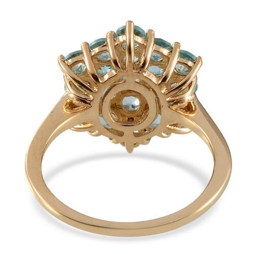 Paraibe Apatite (Rnd) Cluster Ring in 14K Gold Overlay Sterling Silver 2.000 Ct.