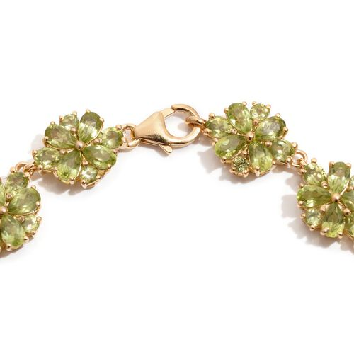 AA Hebei Peridot (Pear) Floral Bracelet in 14K Gold Overlay Sterling Silver (Size 7.5) 14.250 Ct.