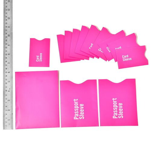 Set of 13 - Pink Colour One RFID Card, Two Passport Card and Ten Credit Card Sleeves
