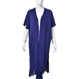 Navy Colour Bamboo Pattern Poncho with Tassels (Size 90x65 Cm)