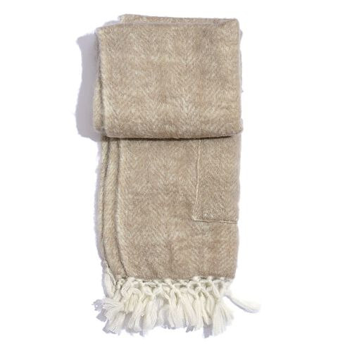 Designer Inspired-Beige Colour Scarf with Pockets and Fringes at the Bottom (Size 175x45 Cm)