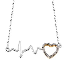 J Francis - Yellow Gold and Platinum Overlay Sterling Silver (Rnd) Pulsing Heart Necklace (Size 18) Made with SWAROVSKI ZIRCONIA