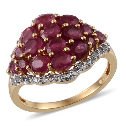 African Ruby (Ovl), White Topaz Cluster Ring in 14K Gold Overlay Sterling Silver 3.750 Ct.