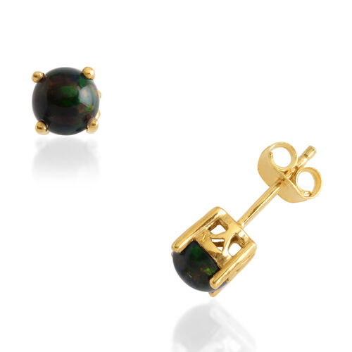 Sable Ethiopian Opal (Rnd) Stud Earrings in 14K Gold Overlay Sterling Silver 0.750 Ct.