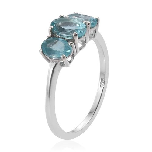 Paraibe Apatite (Ovl) 3 Stone Ring in Platinum Overlay Sterling Silver 1.500 Ct.