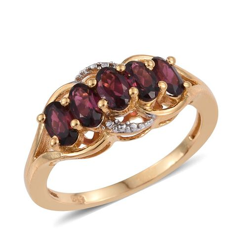 Rhodolite Garnet (Ovl) 5 Stone Ring in 14K Gold Overlay Sterling Silver 1.500 Ct.