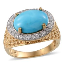 Arizona Sleeping Beauty Turquoise (Ovl 3.75 Ct), Natural Cambodian Zircon Ring in 14K Gold Overlay Sterling Silver 4.250 Ct.