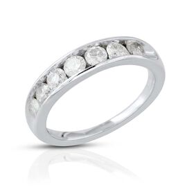 9K White Gold SGL Certified Diamond (Rnd) (I3/G-H) Half Eternity Band Ring 1.000 Ct.