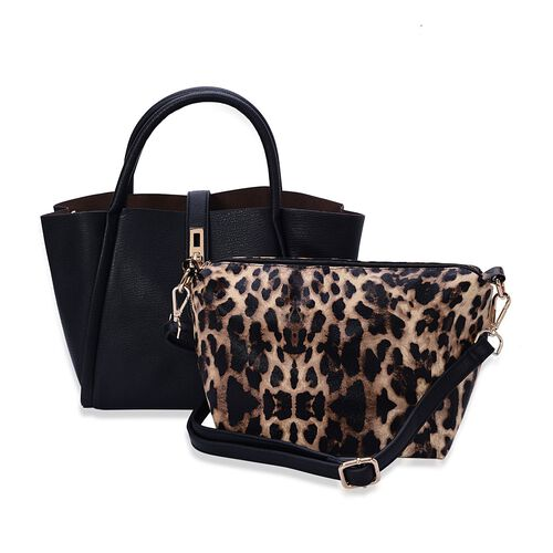 Set of 2 -Hadley Black Tote Bag and Leopard Pattern Crossbody Bag with Adjustable and Removable Shoulder Strap (Size 36x24x12.5 and 26x19x11 Cm)