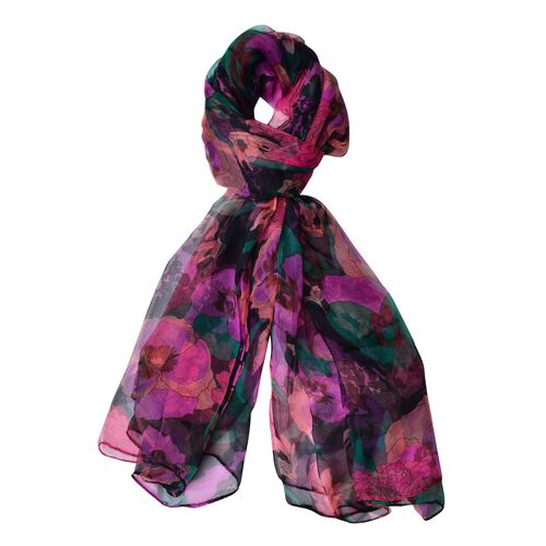 40% Mulberry Silk Rose Red, Green and Multi Colour Floral Pattern Scarf (Size 170X105 Cm)