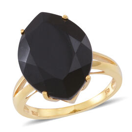 Boi Ploi Black Spinel (Mrq) Ring in 14K Gold Overlay Sterling Silver 14.500 Ct.