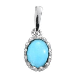 Arizona Sleeping Beauty Turquoise (Ovl) Solitaire Pendant in Platinum Overlay Sterling Silver 0.750 Ct.