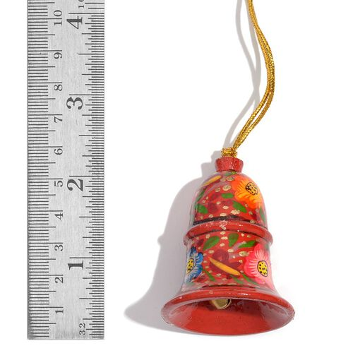 Christmas Decorations - Set of 3 Red Colour Paper Mache Flower Hanging Christmas Bells