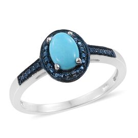 Arizona Sleeping Beauty Turquoise (Ovl), Blue Diamond Ring in Platinum Overlay Sterling Silver 0.750 Ct.