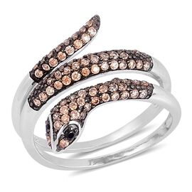 ELANZA AAA Simulated Champagne Diamond (Rnd), Simulated Black Spinel Snake Ring in Rhodium Plated Sterling Silver