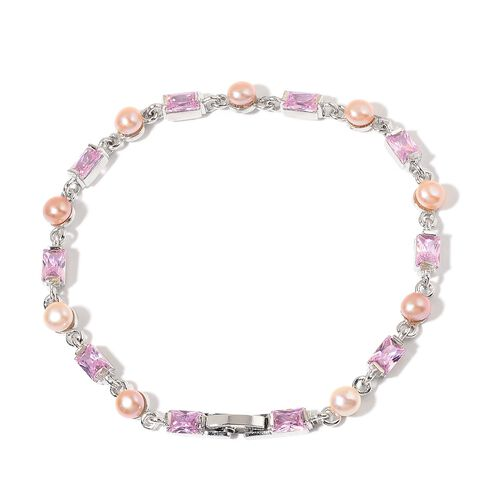 Fresh Water Pink Pearl and Simulated Pink Diamond Bracelet (Size 8) in Silver Tone