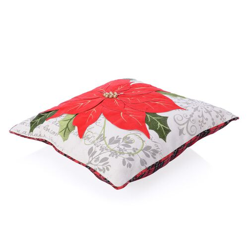 Red Flower and Green Leaves Embroidered Cushion Made with Cotton, Rayon, Linen and Other Fibre (Size 45x45 Cm)