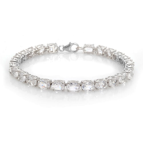 Danburite (Ovl) Tennis Bracelet in Platinum Overlay Sterling Silver (Size 7.5) 20.500 Ct.