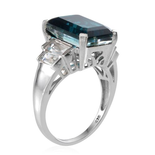 Indicolite Quartz (Oct 8.75 Ct), White Topaz Ring in Platinum Overlay Sterling Silver 10.500 Ct.