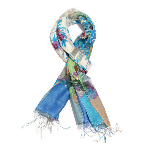 Super Auction- 65% Silk White, Blue and Multi Colour Artistic Floral Pattern Scarf with Fringes (Size 180x50 Cm)