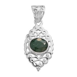 Enhanced Emerald (Ovl) Solitaire Pendant in Sterling Silver 3.050 Ct.