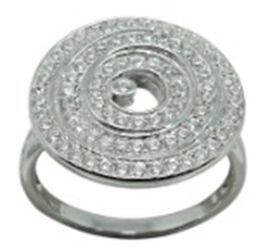 AAA Simulated Diamond (Rnd) Ring in Rhodium Plated Sterling Silver 1.000 Ct.