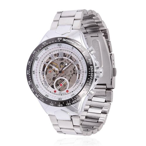 GENOA Automatic Skeleton Red Austrian Crystal Studded White Dial Water Resistant Watch in Silver Tone with Stainless Steel Back and Chain Strap