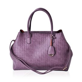 Light Purple Colour Weave Pattern Tote Bag with Adjustable and Removable Shoulder Strap (Size 40x27x10 Cm)