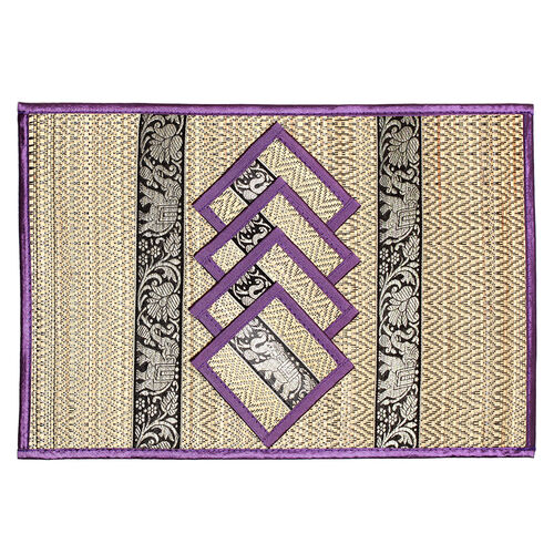 Traditional Thai Pattern Lilac Purple Bamboo Wicker Placemat (12x18) and Coaster (5x5) Set