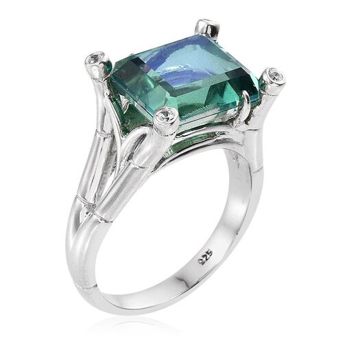Peacock Quartz (Oct 7.40 Ct), Natural Cambodian Zircon Ring in Platinum Overlay Sterling Silver 7.500 Ct.