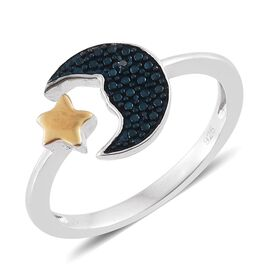 Blue Diamond Half Moon and Star Ring in Platinum and Yellow Gold Overlay Sterling Silver