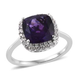 9K White Gold 3.50 Carat Zambian Amethyst And Natural Cambodian Zircon Halo Ring