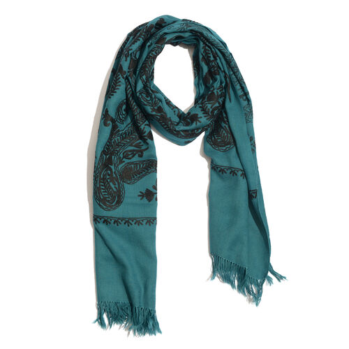 100% Merino Wool Black Colour Leaf and Paisley Pattern Indigo Colour Scarf (Size 190x70 Cm)