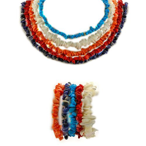 Mother of Pearl, Sodalite, Red Coral, Howlite and Coral Necklace (Size 18) and Bracelet (Size 7.5) 1125.00 Ct.