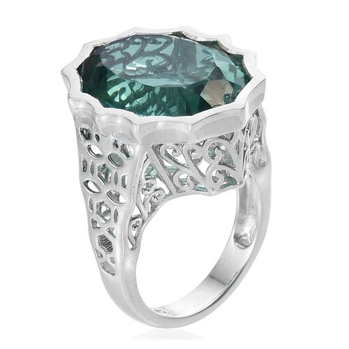 Peacock Quartz (Ovl) Ring in Platinum Overlay Sterling Silver 16.000 Ct.