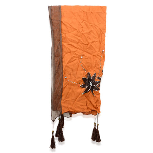 Floral Pattern Brown and Tan Colour Scarf with Embellishment (Size 180x55 Cm)
