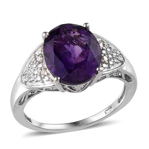 Lusaka Amethyst (Ovl 3.75 Ct), Diamond Ring in Platinum Overlay Sterling Silver 3.780 Ct.