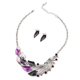 Pink and Purple Austrian Crystal Enameled Necklace (Size 18) and Earrings in Silver Tone