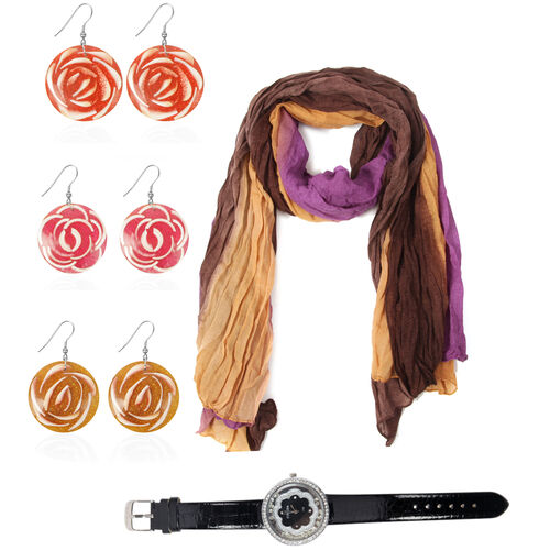 Purple Colour Scarf (Size 180x90 Cm), STRADA Japanese Movement Black Dial White Austrian Crystal Watch in Silver Tone with Black Strap and Set of 3 LABA LABA Shell Earrings in Stainless Steel