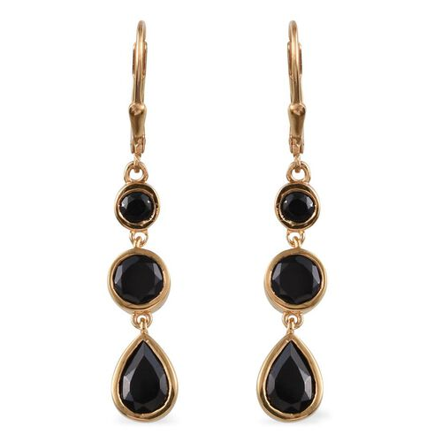 Boi Ploi Black Spinel (Pear) Lever Back Earrings in 14K Gold Overlay Sterling Silver 5.250 Ct.