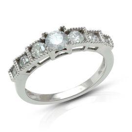9K W Gold GSI Certified Diamond (Rnd) (I 3 /G-H) 7 Stone Ring 0.750 Ct.