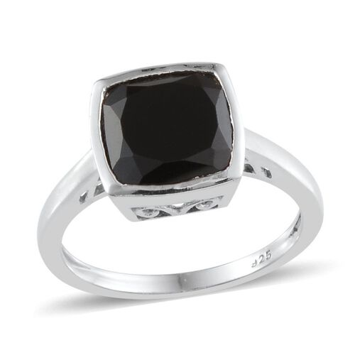 Boi Ploi Black Spinel (Cush) Solitaire Ring in Platinum Overlay Sterling Silver 3.500 Ct.