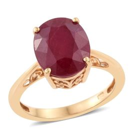 African Ruby 6 Carat Oval Silver Solitaire Ring in Gold Overlay