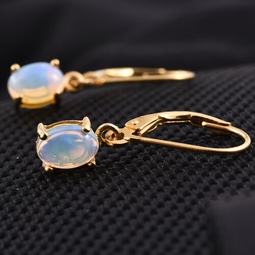 Ethiopian Welo Opal (Ovl) Lever Back Earrings in 14K Gold Overlay Sterling Silver 1.000 Ct.