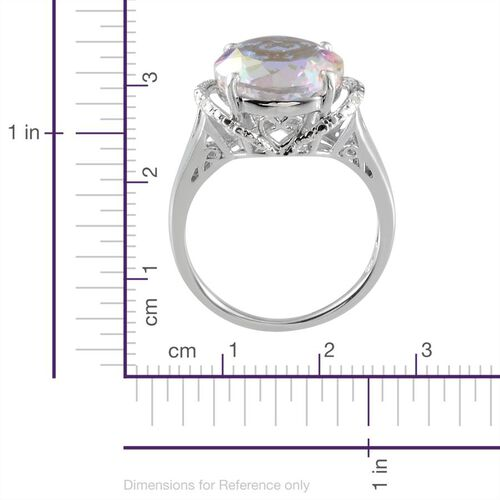 Mercury Mystic Topaz (Rnd 7.50 Ct), Diamond Ring in Platinum Overlay Sterling Silver 7.520 Ct.