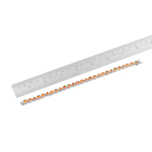 Orange Ethiopian Opal (Ovl) Bracelet in Platinum Overlay Sterling Silver (Size 7.5) 7.500 Ct.