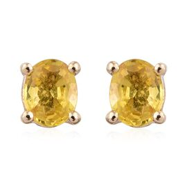 9K Yellow Gold 1 Carat Yellow Sapphire Oval Solitaire Stud Earrings.