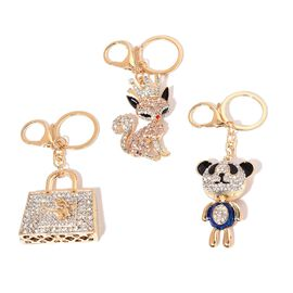 Set of 3 - White and Multi Colour Austrian Crystal Panda, Fox, Handbag Design Key Chains in Yellow Gold Tone