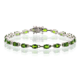 AA Russian Diopside (Ovl) Bracelet in Rhodium Plated Sterling Silver (Size 8) 7.500 Ct.