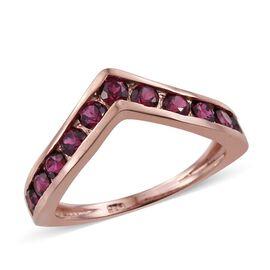 Odisha Rhodolite Garnet (Rnd) Wishbone Ring in Rose Gold Overlay Sterling Silver 1.500 Ct.